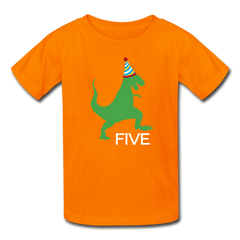 Boy 5th Birthday Dinosaur Shirt, Kids' T-Shirt Fruit of the Loom - orange