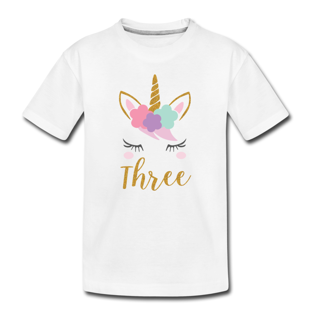 Girls 3rd Birthday Unicorn Toddler Premium T-Shirt - white