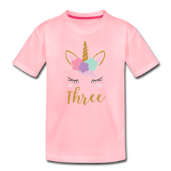 Girls 3rd Birthday Unicorn Toddler Premium T-Shirt - pink