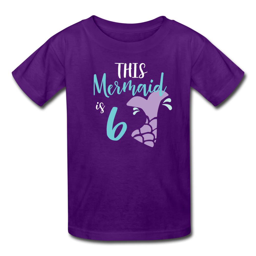 Girl Mermaid 6th Birthday Shirt, Kids' T-Shirt Fruit of the Loom - purple