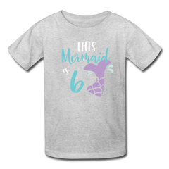 Girl Mermaid 6th Birthday Shirt, Kids' T-Shirt Fruit of the Loom - heather gray
