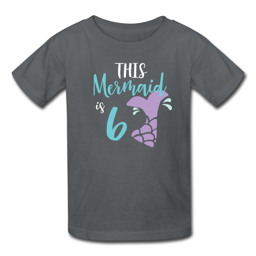 Girl Mermaid 6th Birthday Shirt, Kids' T-Shirt Fruit of the Loom - charcoal