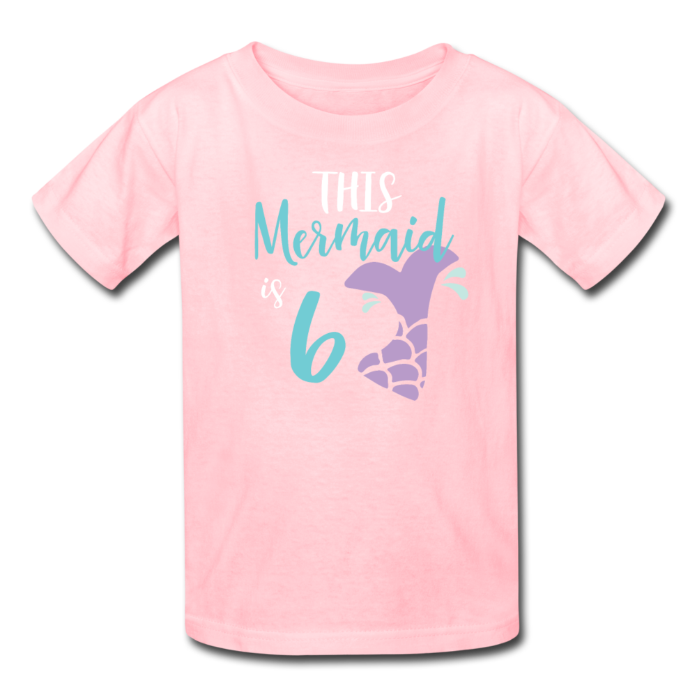 Girl Mermaid 6th Birthday Shirt, Kids' T-Shirt Fruit of the Loom - pink
