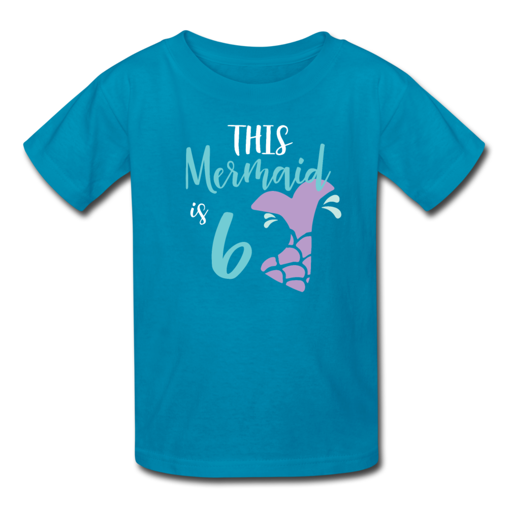 Girl Mermaid 6th Birthday Shirt, Kids' T-Shirt Fruit of the Loom - turquoise