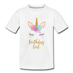 Birthday Girl Unicorn Shirt, Toddler Premium T-Shirt - white