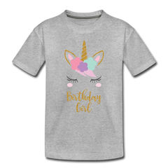 Birthday Girl Unicorn Shirt, Toddler Premium T-Shirt - heather gray