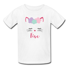 Kitty Cat 5th Birthday Party Shirt, Cute Kitten Birthday Girl Outfit, Kids' T-Shirt Fruit of the Loom - white