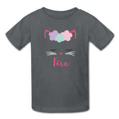 Kitty Cat 5th Birthday Party Shirt, Cute Kitten Birthday Girl Outfit, Kids' T-Shirt Fruit of the Loom - charcoal
