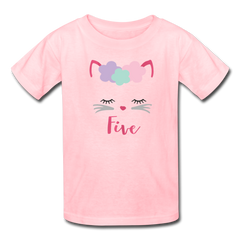 Kitty Cat 5th Birthday Party Shirt, Cute Kitten Birthday Girl Outfit, Kids' T-Shirt Fruit of the Loom - pink
