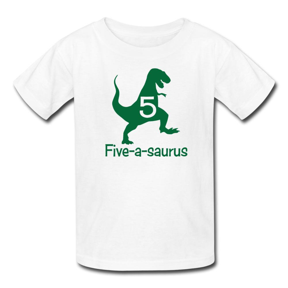 Boys Fifth Birthday Dinosaur Shirt, Five-A-Saurus, Kids' T-Shirt Fruit of the Loom - white