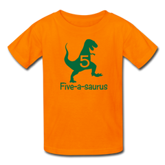 Boys Fifth Birthday Dinosaur Shirt, Five-A-Saurus, Kids' T-Shirt Fruit of the Loom - orange