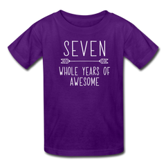 Seven Whole Years of Awesome, 7th Birthday Shirt, Kids' T-Shirt Fruit of the Loom - purple