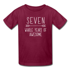 Seven Whole Years of Awesome, 7th Birthday Shirt, Kids' T-Shirt Fruit of the Loom - burgundy