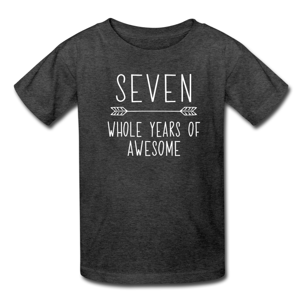 Seven Whole Years of Awesome, 7th Birthday Shirt, Kids' T-Shirt Fruit of the Loom - heather black