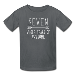 Seven Whole Years of Awesome, 7th Birthday Shirt, Kids' T-Shirt Fruit of the Loom - charcoal