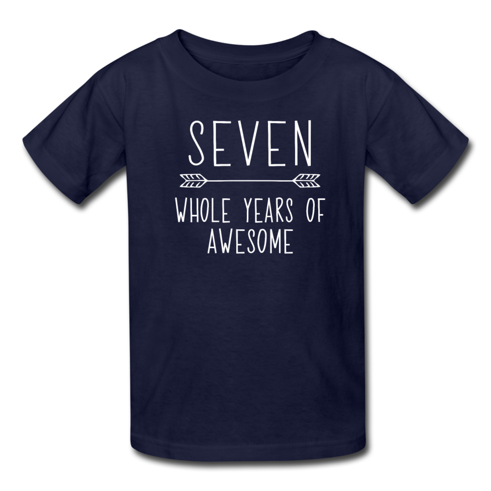 Seven Whole Years of Awesome, 7th Birthday Shirt, Kids' T-Shirt Fruit of the Loom - navy