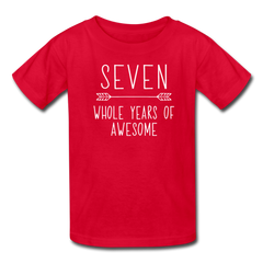 Seven Whole Years of Awesome, 7th Birthday Shirt, Kids' T-Shirt Fruit of the Loom - red
