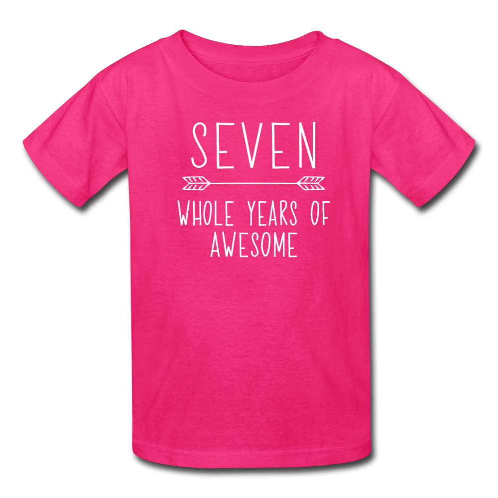 Seven Whole Years of Awesome, 7th Birthday Shirt, Kids' T-Shirt Fruit of the Loom - fuchsia