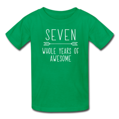 Seven Whole Years of Awesome, 7th Birthday Shirt, Kids' T-Shirt Fruit of the Loom - kelly green