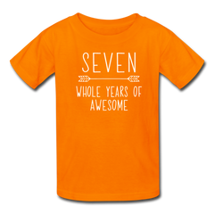 Seven Whole Years of Awesome, 7th Birthday Shirt, Kids' T-Shirt Fruit of the Loom - orange