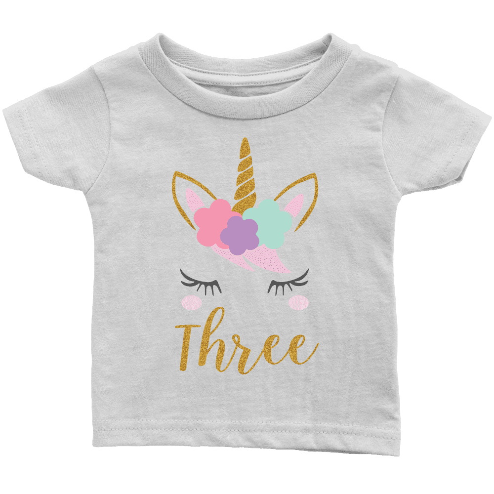 Third Birthday Girl Shirt, Unicorn 3rd Birthday Outfit - Bump and Beyond Designs