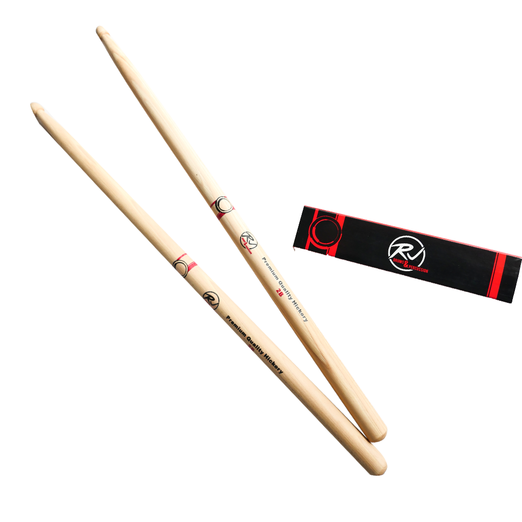RJ Premium Drum Sticks - 2B Hickory