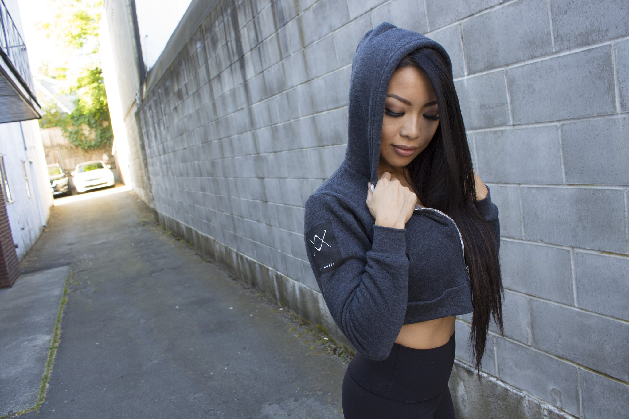 Charcoal Grey Women's Crop Zip Up Hoodie