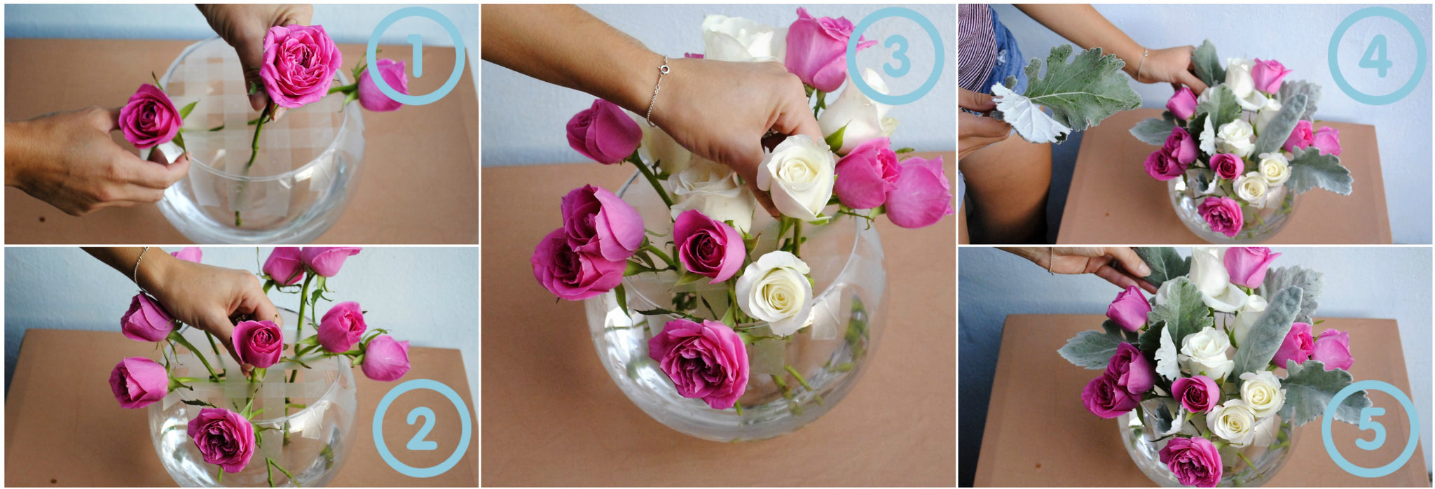 How to create a DIY Flower Centerpiece - Pink and White roses