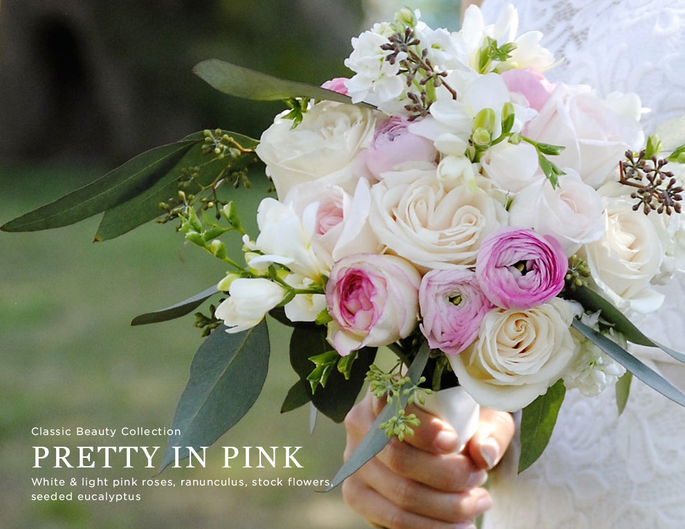 Pink ranunculus and seeded eucalyptus wedding flowers kukka flowers pretty in pink package mightylinksfo