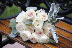 Sweetheart DIY wedding flowers bridal bouquet bench