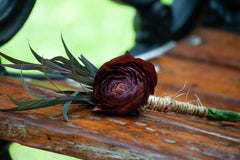 Dark Romance DIY wedding flowers boutonniere