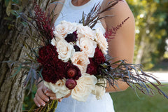 Dark Romance DIY wedding flowers bridal bouquet landscape