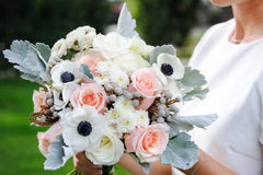 Lush Blush DIY wedding flowers bridal bouquet side