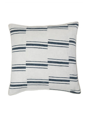 Block printed white linen pillow with a dark teal offset stripe