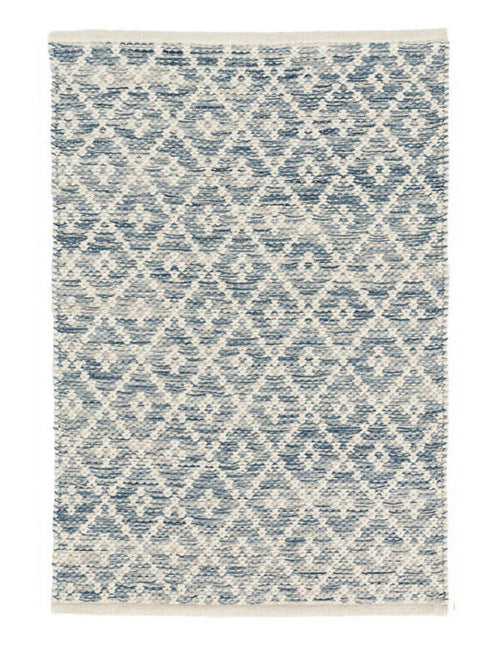 Blue cotton rug with a diamond pattern