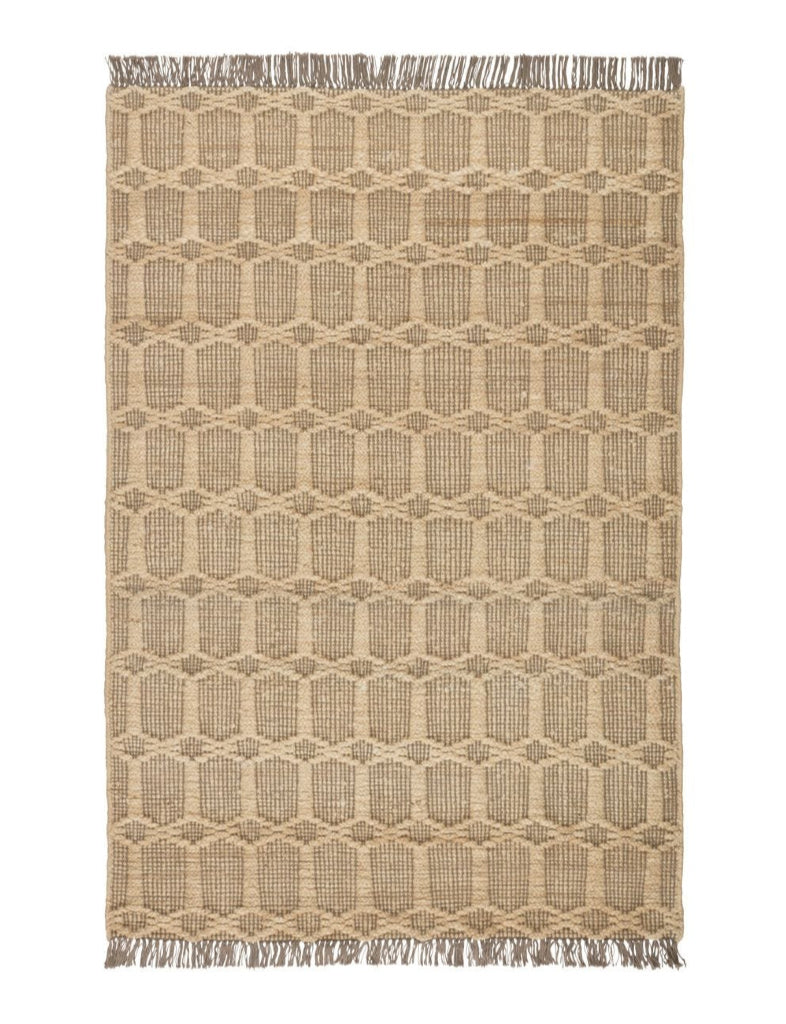 jute and cotton rug  in a tan lattice design