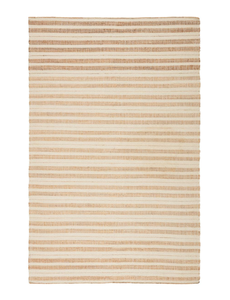 Tan and white striped jute and wool rug