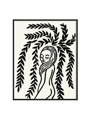 women in blossoming art print surrounded by botanical leaves