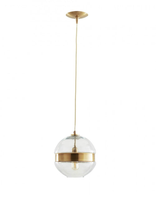Round clear glass pendant with an antique brass belt