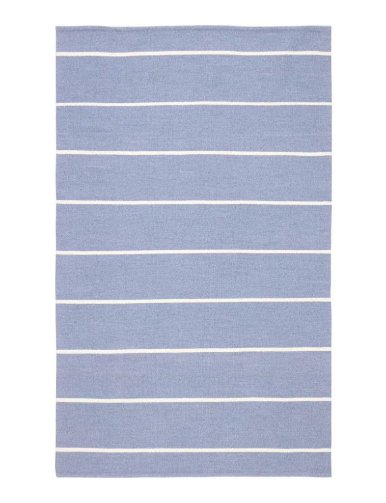 light blue and ivory striped indoor outdoor rug