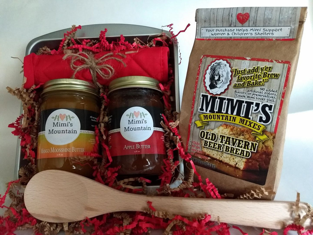 Mimi's Bread & Butters Gift Set is a perfect gift for the foodie on your gift list.  Delicious, easy to make and bake Old Tavern Beer Bread Mix, Sweet yummy, Mimi's Mango Moonshine Butter, a dishwasher safe mixing spoon, hot pad and baking pan along with Mimi's Heirloom Apple Butter is thick and delicious.  Made with Stayman-Winesap apples from the mountains of western North Carolina and LOTS of high quality cinnamon.