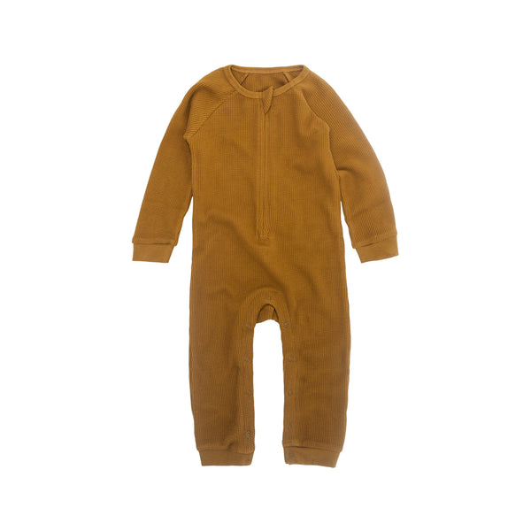 Perrywinkle Waffle Grow Suit - Golden (last one, size 3-6 months)