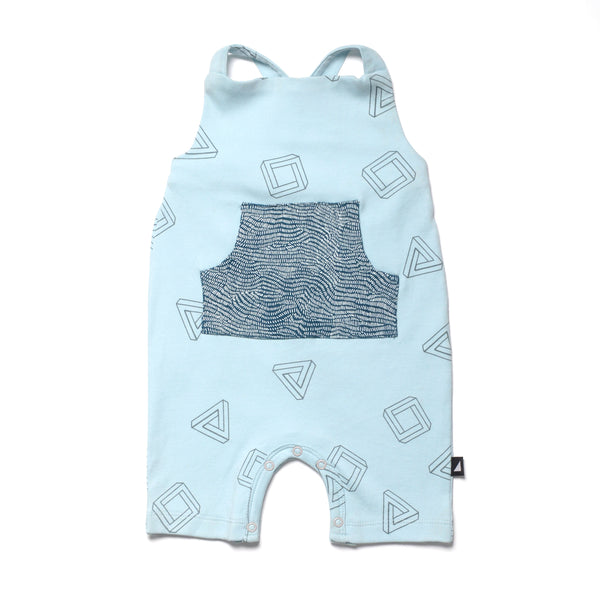 3D Contrast Overalls in Blue