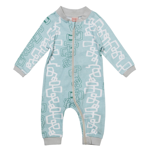 Blue Graphic Zippy Babygro