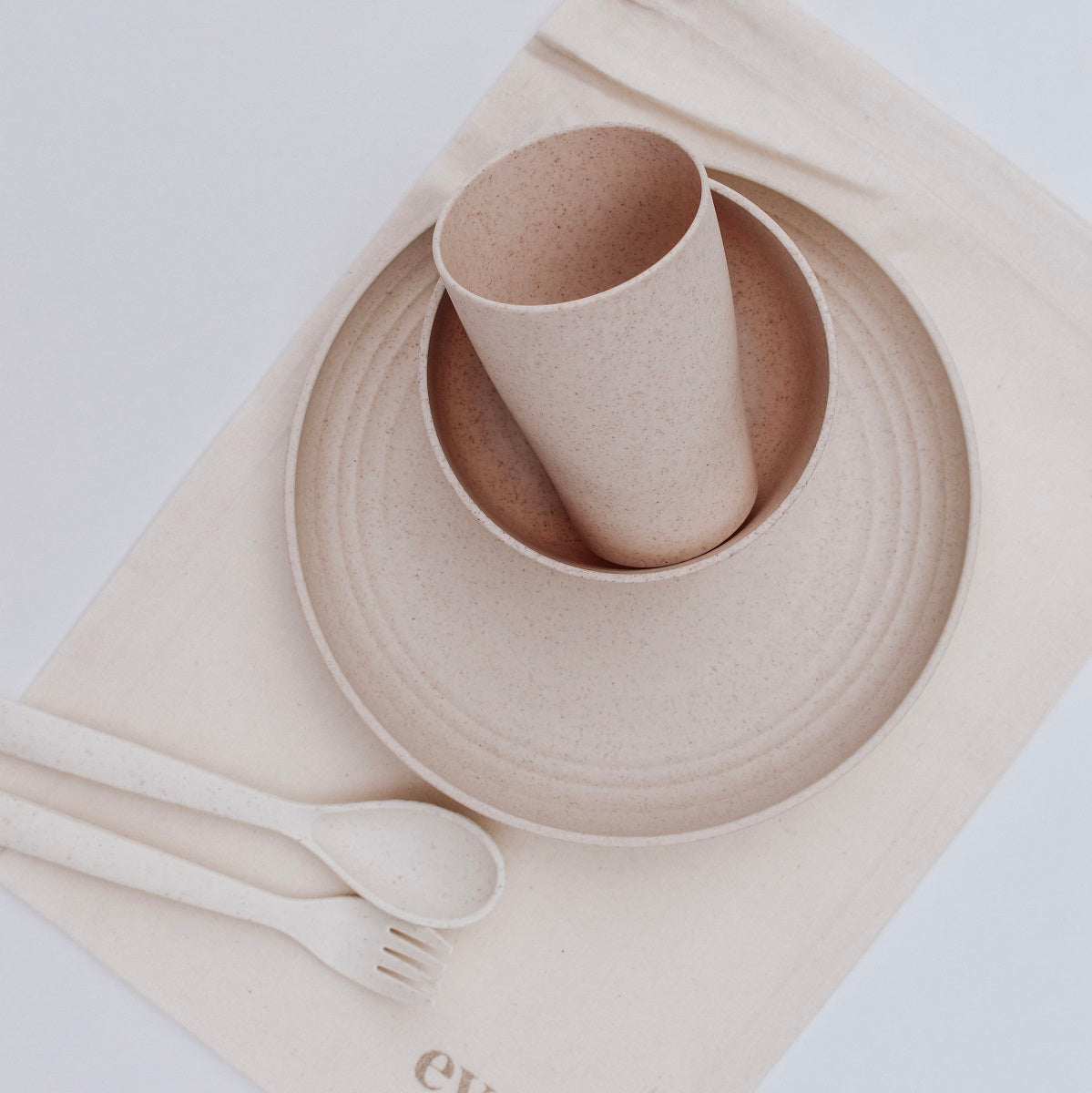 Weatstraw Dinner Set - Almond