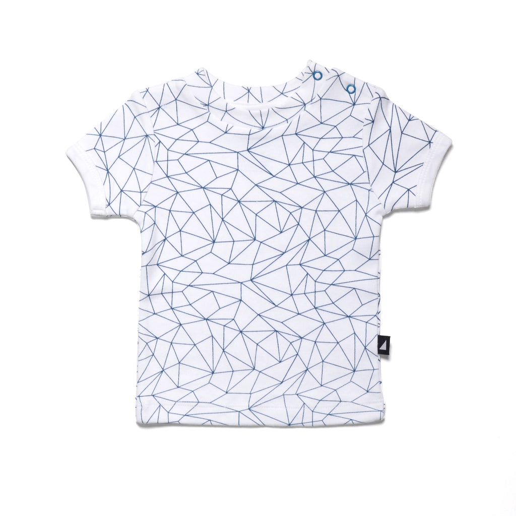 Fractured Tee in White/Navy