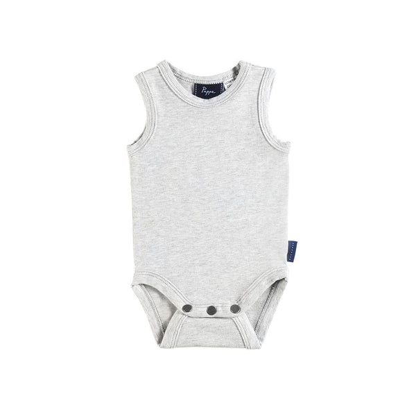 Grey Nimmy Luxe Onesie - Sleeveless (last one, size 3-6 months)