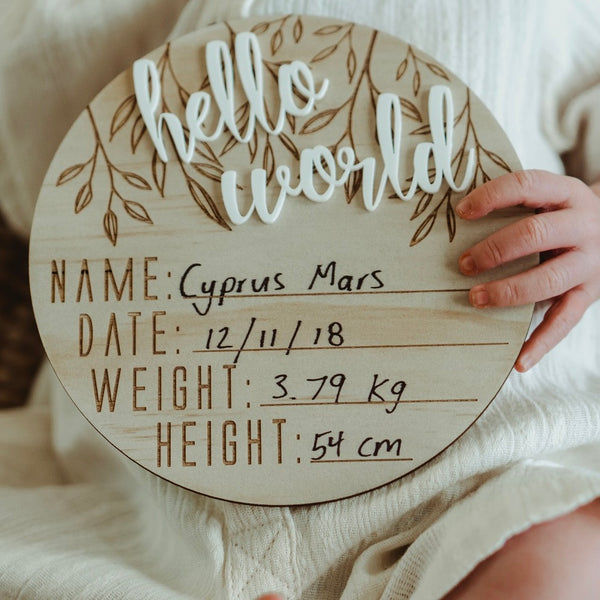 'Hello World' Birth Announcement Disc