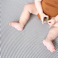 Natural/Charcoal Stripe Fitted Cot Sheet