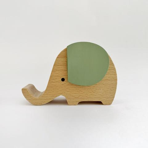 Wooden Musical Elephant - Sage